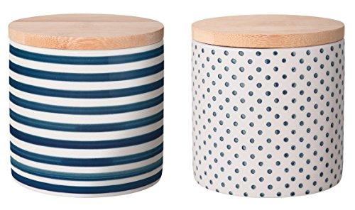 Bloomingville Behälter mit Deckel Isabella, blau, Keramik Bambus Silikon, 2er Set