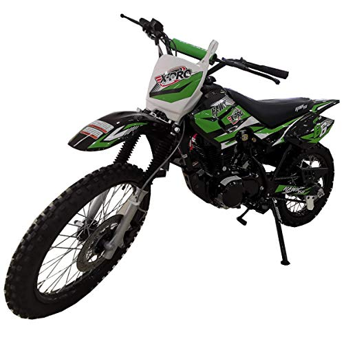 "X-PRO Hawk 150cc Adults Dirt Bike Pit Bike Youth Dirt Pit Bike 125 Dirt Bike Dirt Pitbike,Big 19""/16"" Wheels! (Green)"