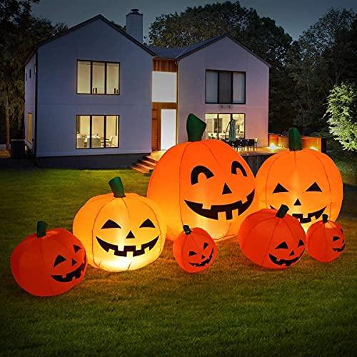 Sizonjoy 7 Ft Halloween Blow up Inflatable Pumpkin Decoration-Lighted for Home Yard Garden Indoor and Outdoor Halloween Decoration Outdoor(7 Ft)