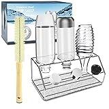 YAOMAISI Premium Abtropfgestell,304Sodaflaschenhalter,für Wassersprudler aus Edelstahl .Crystal 2.0, Easy,Power, Penguin,Getränkeflaschenregal,Geeignet für alle Wassersprudler inkl.Abtropfmatte