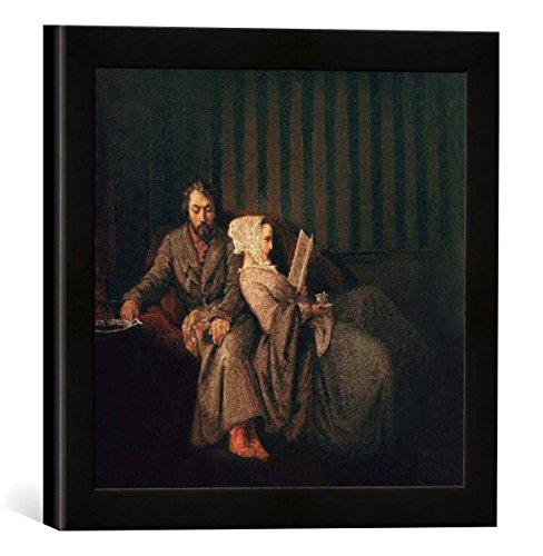 Gerahmtes Bild von Ernst Kietz Heine und Seine Frau/Ernst Kietz, Kunstdruck im hochwertigen handgefertigten Bilder-Rahmen, 30x30 cm, Schwarz matt