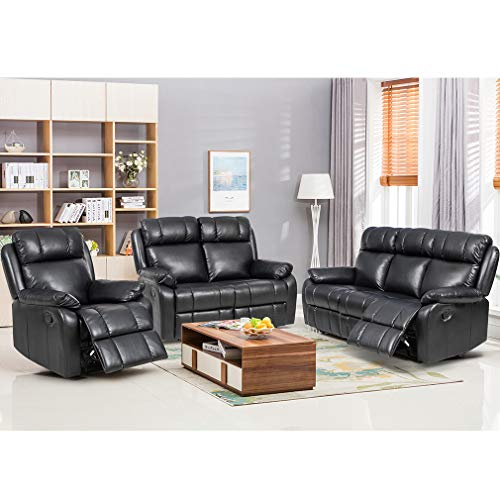 FDW Recliner Sofa Set Sectional Sofa for Living Room Furniture PU Leather Sofa and Couch Manual...