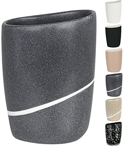 Spirella Etna Stone Toothbrush Holder Polyresin Black White Stone Effect Height 13 cm x Width 10.5 cm