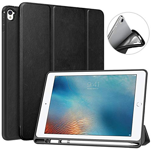 MoKo Case Fit iPad Pro 9.7 with Apple Pencil Holder - Slim Lightweight Smart Shell Stand Cover Case with Auto Wake/Sleep Fit Apple iPad Pro 9.7 Inch 2016 Tablet, Black