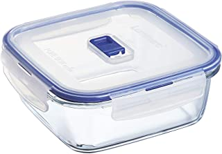 Luminarc 9207674 Pure Box Active Storage Box with Lid, Square, Crystal, 122 ml, Transparent