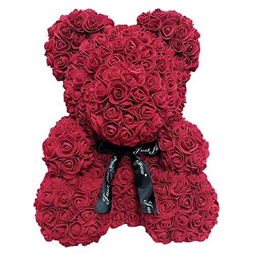 Premewish Rosenbär Rosenteddybär Puppe Plüsch Puppe Teddy Bär aus PE Schaum Dekoration Geschenk für Valentinstag Hochzeit Jahrestag Muttertags (Dunkelrot, 40 cm)