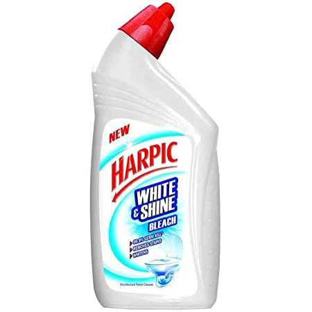 Harpic White and Shine Disinfectant Toilet Cleaner Bleach - 500 ml | Kills 99.9% Germs