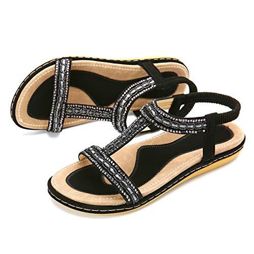 gracosy Sandalias Planas Verano Mujer Estilo Bohemia Zapatos para Mujer de Dedo Sandalias Talla Grande 37-43 Cinta Elástica Casuales de Playa Chanclas Romanas de Mujer Negro Beige 2019