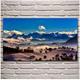 yhyxll Suiza Snow Winter Mist Nature Landscape Panorama Print Living Room Decoration Home Wall Art Decor Fabric Posters -60x100cm Sin Marco