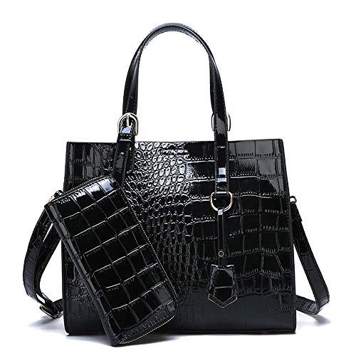 Coolives Damen Set Handtaschen mit 2 Stück Krokodil-Muster Schultertasche Umhängetasche Schwarz EINWEG