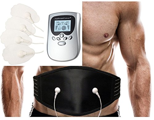 Best Powerful Smart Pain Relief Electric Impulse OTC 8 Modes Massager + Lower Back Pain Belt Plus for Massaging Lumbar Support | Excellent Back Acupressure Brace Support Belt FDA CLEARED (Silver) HealthmateForever PM8 LIFETIME WARRANTY!