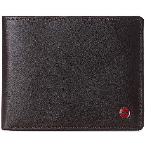 Alpine Swiss Spencer RFID-Geldbörse für Herren, 2 Ausweis-Fenster, geteiltes Geldscheinfach, glattes Leder, Lieferung in Geschenkbox - Braun - Einheitsgröße