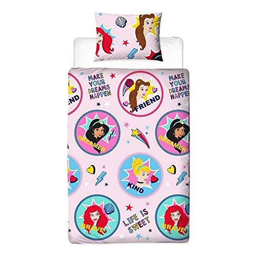 Disney Princess Bettwäsche-Set für Einzelbett, wendbar, zweiseitig, Prinzessin Jasmin, Ariel-Design, Bettbezug mit passendem Kissenbezug