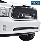 EAG Rivet Black Stainless Steel Wire Mesh Grille with 3 LED Lights Fit for 13-18 Ram 1500