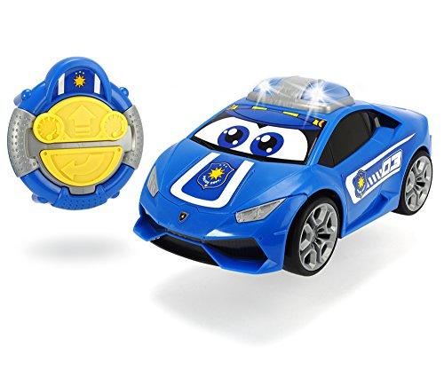 Dickie Toys IRC Happy Lamborghini Polizei, Spielzeugauto mit Infrarot-Fernsteuerung, fährt vorwärts geradeaus, rückwärts um die Kurve, blinkendes Toplicht, bis zu 2 km/h, für Kinder ab 2 Jahren, 27 cm