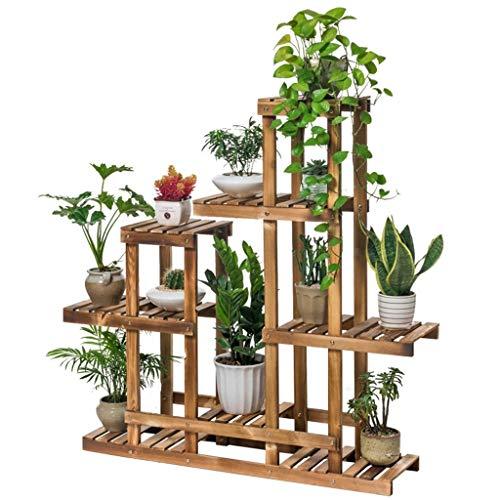 YINUO Balcon Porte-fleurs Salon Étagère à fleurs intérieure en bois massif à plusieurs étages Étagère à fleurs en bois, support de pot de fleurs, Taille: 101x25x110cm