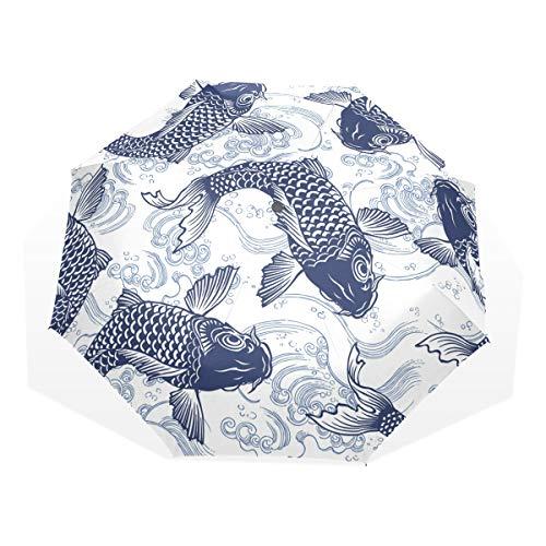 Rootti - Paraguas ligero con diseño de peces vintage con un botón, apertura automática, resistente al viento, para niños, mujeres y hombres