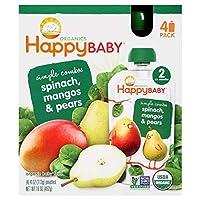 離乳食 オーガニック ベビーフード ホウレン草 マンゴー 洋ナシ / 4パック入り 各4oz(113g) Organics Happy Baby [並行輸入品]