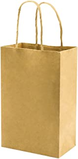 100 Pack 5.25x3.25x8 inch Brown Small Paper Bags with Handles Bulk, bagmad Gift Paper Bags, Kraft Birthday Party Favors Gr...