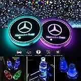 VILLSION Wasserdicht LED Getränkehalter Auto Untersetzer 7 Farben USB Lade