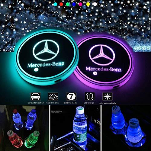 J.MOSUYA Wasserdicht LED Getränkehalter Auto Untersetzer 7 Farben USB Lade Becherhalter Lumineszenz Tasse Halter LED innenbeleuchtung Auto Atmosphäre Lampe Dekoration Licht, B