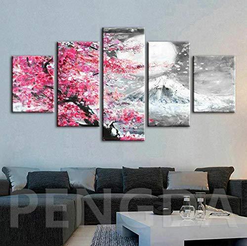 5 Piezas Cuadro sobre Lienzo De Fotos Montaña de la nieve de los cerezos en flor Lienzo Impresión Cuadros Decoracion Salon...