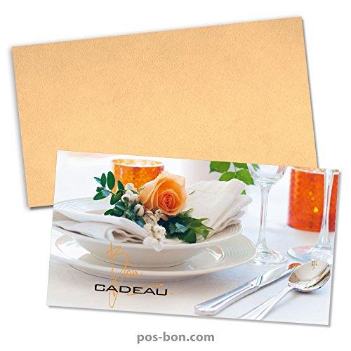 100 Bons cadeaux + 100 enveloppes pour restaurants, bistrots, gastronomie G12022F