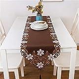 XYZDZ Hermosa 40 * 175cm Brown Pastoral Bordado Floral Blanco Borla Mantel de Mesa Partido casero Cena de la Boda decoración de la Tabla del paño-PC 1 Casa (Color, Size : 40x176cm)