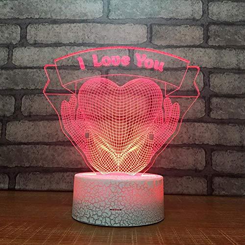 Wallfia Danksagung Justierbare Notensteuerung der Illusions-LED 7 der Farbe 3D, USB-Kabel- / Batterienachtlicht, Geburtstags- / Neujahrs- / Weihnachtsgeschenk