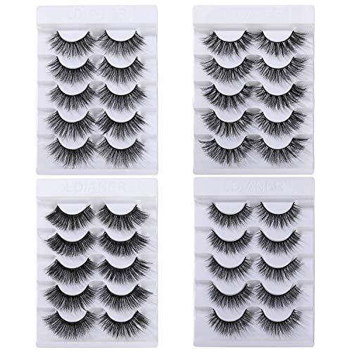 Falsche Wimpern 3D/6D Natürliche Dicke Lange Künstliche Eyelashes Handgefertigt für Wimpern Verlängerung, 20 Paare Schwarz 4 Stile Lashes Makeup Cosplay