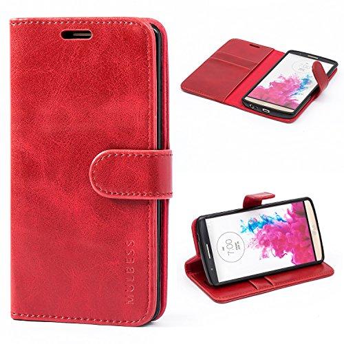 Mulbess Funda LG G3 [Libro Caso Cubierta] [Vintage de Billetera Cuero] con Tapa Magnética Carcasa para LG G3 Case, Vino Rojo