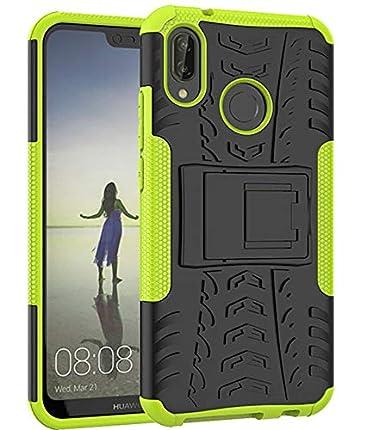 Yiakeng Funda Huawei P20 Lite Carcasa, Doble Capa Silicona a Prueba de Choques Soltar Protector con Kickstand Case para Huawei P20 Lite (Verde)