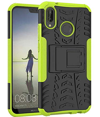 Yiakeng Huawei P20 Lite Cover, Doppio Strato Silicone Antiurto Far Cadere Protezione con Kickstand Custodia per Huawei P20 Lite (Verde)