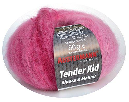 Austermann Tender Kid Fb. 03 himbeere, Wolle mit Alpaca & Mohair, softes Garn mit dezentem Farbverlauf, auch als Lacegarn