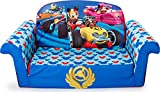 Marshmallow Furniture 2-in-1 Flip Open Foam Couch Bed Sleeper Sofa Kid's Furniture for Ages 18 Months and Up, Mickey Mouse Roadsters