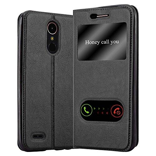 Cadorabo Funda Libro para LG K10 2017 en Negro Cometa - Cubierta Proteccíon con Cierre Magnético, Función de Suporte y 2 Ventanas- Etui Case Cover Carcasa