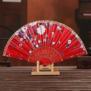 KCGNBQING Chinese Style Hand Held Folding Dance Fan Wedding Party Lace Silk Folding Hand Held Flower Fan Summer Wedding Fan Party Fan Chinese Folding Fan (Color : Red)