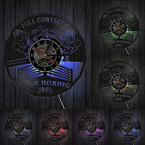 Kick Boxing Gimnasio Decoración Reloj Boxeo Guantes de Boxeo Bolsa de Perforación Infighters Disco de Vinilo Reloj de Pared Lucha Deportes Boxeadores Raspadores Regalo Luces LED