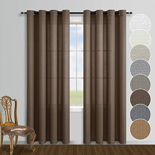 Dark Chocolate Brown Curtains 84 Inches Long for Living Room 2 Panels Grommet Window Linen Textured Semi Sheer Curtains
