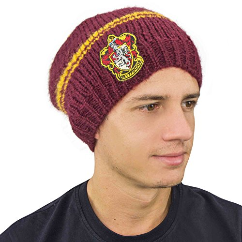 Cinereplicas Harry Potter Strickmütze Classic oder Slouch Style Beanie Hut Unisex & One Size - Harry Potter Offiziell (Gryffindor Slouch)