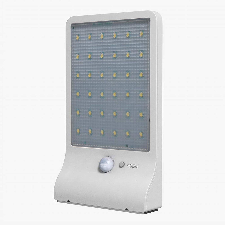 合併症感心するディスク屋外用ソーラーウォールライト、ガーデンガーデンライト、36LED超薄型防水、人体誘導街路灯,White