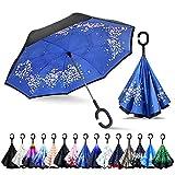 ZOMAKE Parapluie Inversé,Parapluie Canne,Double Couche Coupe-Vent, Mains Libres poignée en Forme C, Idéal pour Voiture et Voyage (Fleur de Cerisier)