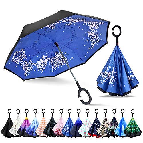 ZOMAKE Inverted Stockschirme, Innovative Schirme Double Layer, Winddicht Regenschirm, Freie Hand,Umgedrehter Regenschirm mit C Griff für Auto Outdoor (Kirschenblüte)
