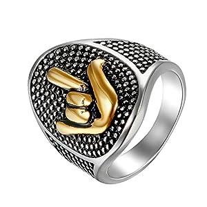 Flongo Herren-Ring Herrenring Männer, Edelstahl Ring Edelstahlring Bandring Silber Gold Rock n Roll Ich Liebe Dich Geste Herrenringe Siegel Motorradfahrer Biker Punk Herren-Accessoires 62MM