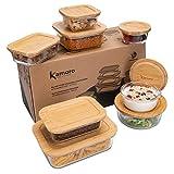 Kamoro HOME & KITCHEN 8er Set Glas Frischhaltedosen mit nachhaltigem Bambus Deckel - Glasbehälter in verschiedenen Größen – BPA-freie Dosen/Behälter
