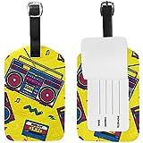Retro Pop Boombox Radio 80S Etiqueta de Equipaje PU Bolso de Cuero Maletas Etiqueta de Equipaje 1 Juego de Piezas