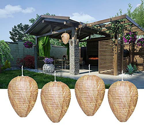 4 Pack Wasp Nest Decoy - Wasp Repellent Outdoor - Hanging Fake Wasp Deterrent Decoy - Natural Paper Simulated Bee Hornets Wasp Nest for Home and Garden