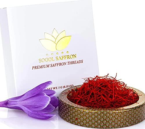 Sogol Saffron Threads for Cooking- Premium Saffron Spice- All Red Saffron Super Negin for your Milk & Tea- Persian Rice, Paella , Risotto (5 Grams)
