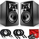 JBL Professional 305P MkII Next-Generation 5-Inch 2-Way Powered Studio Monitor Pair Bundle with 2X Mophead 10-Foot TRS Cable, 2X 10-Foot XLR Cable, 2X Cable Ties and Microfiber Cloth
