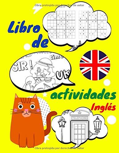 Libro de actividades inglés: Juegos para aprender inglés: colorear, numeros, rompecabezas, laberintos para niños a partir de 6 años | sopa de letras inglés niños | gran formato | 156 juegos